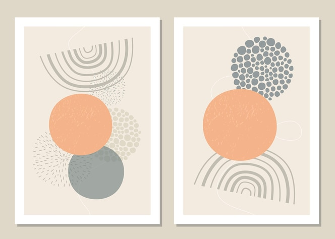 Een trendy set van abstracte geometrische vormen in een minimale stijl.
