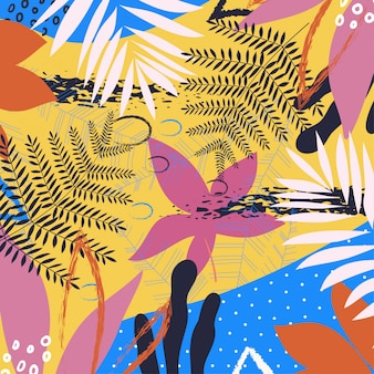 Een trendy tropisch abstract patroon met heldere bladeren en installaties op een gele achtergrond