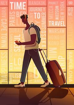 Een treveller op een luchthaven. rond de wereld. moderne poster. zonsondergang.