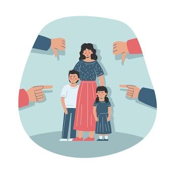 Een trieste alleenstaande moeder en haar kinderen worden gepest en beschaamd. het gezin wordt omringd door veroordelende gebaren.