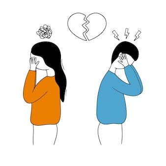 Een trieste jongen en een meisje staan met hun rug naar elkaar toe.