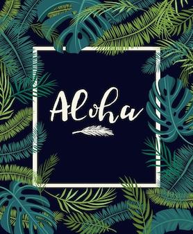 Een tropische kaart met palmbladeren en exotische bloemen. zomerjungledesign is ideaal voor flyers, ansichtkaarten, labels en unieke ontwerpen. vector
