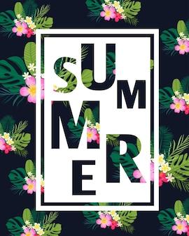 Een tropische kaart met palmbladeren en exotische bloemen zomerjungledesign is ideaal voor flyers