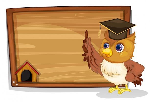 Een uil die een afstuderenpet draagt naast een houten plank