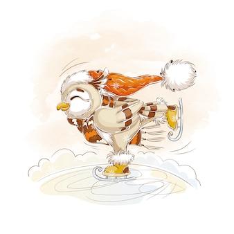 Een uil in een oranje gebreide muts en gestreepte sjaalschaatsen.