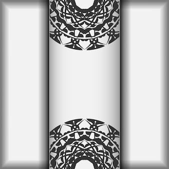 Een uitnodiging voorbereiden met een plaats voor uw tekst en griekse patronen. vector sjabloon voor postkaarten afdrukontwerp witte kleuren met zwarte mandala patronen.