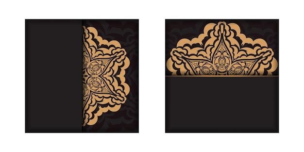 Een uitnodiging voorbereiden met een plaats voor uw tekst en vintage ornamenten. vierkante sjabloon voor ansichtkaarten met printontwerp in zwarte kleur met luxe patronen.
