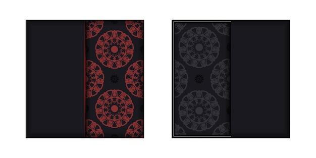 Een uitnodigingskaart voorbereiden met een plaats voor uw tekst en patronen. vectorsjabloon voor een afdrukbaar ontwerp van een ansichtkaart in zwarte kleuren met griekse ornamenten.