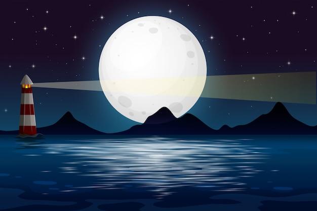 Een uitzicht op de oceaan 's nachts