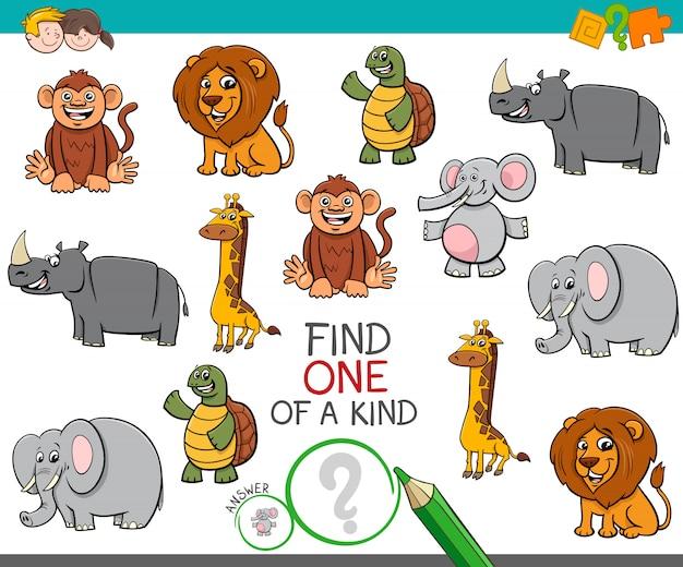 Een uniek spel met tekenfilm dieren