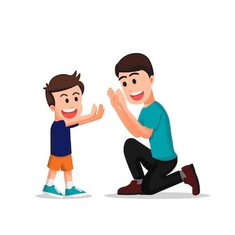 Een vader doet een dubbele high five met zijn zoon