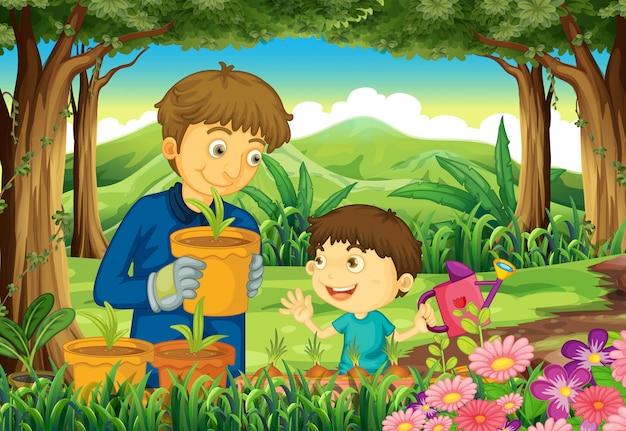 Een vader en een zoon in het bos die de planten water geven