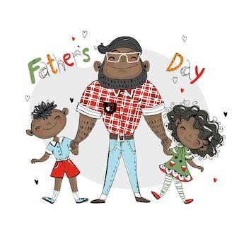 Een vader met een dochter en een zoon