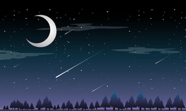 Een vallende ster 's nachts