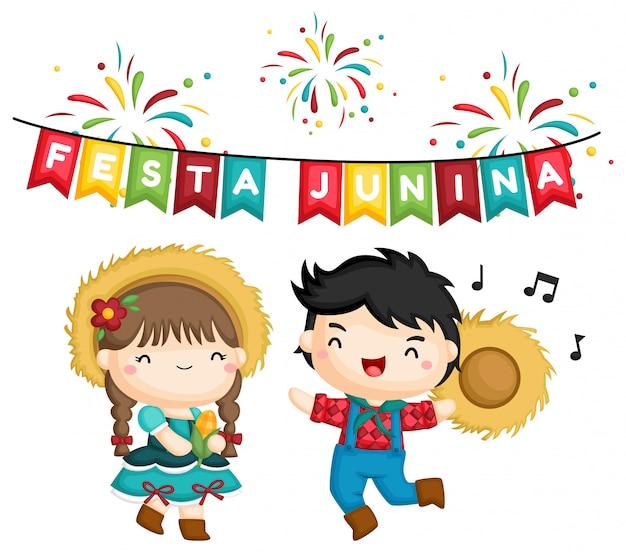 Een van een gelukkige jongen en meisje op festa junina