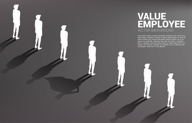 Een van het silhouet van zakenmensen met en zijn schaduw van superheld. concept van empowerment potentieel en human resource management