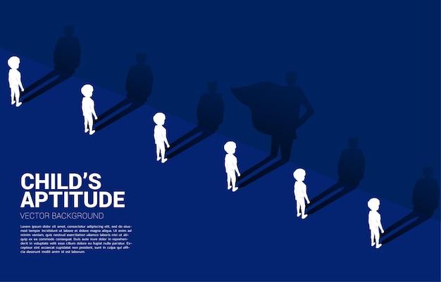 Een van silhouet van kinderen met zijn schaduw van super mens. illustratie van de aanleg en macht van kinderen binnenin.