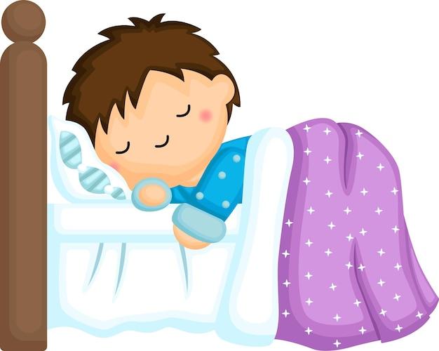 Een vector van een jongen die degelijk slaapt