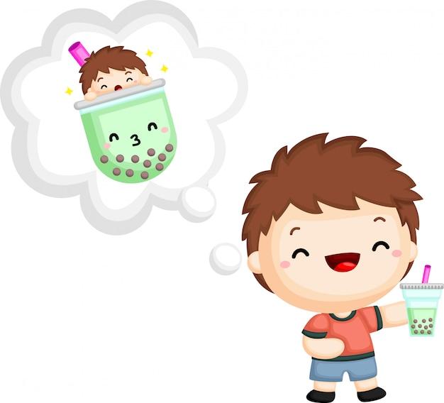 Een vector van een jongen die een bubbelthee houdt