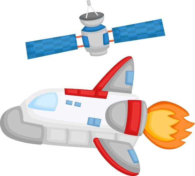 Een vector van een ruimteschip en een satelliet