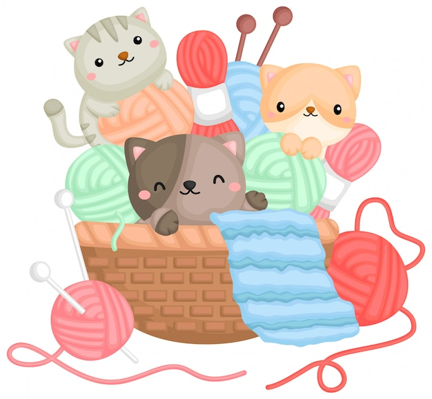 Een vector van katten die met garens in een mand spelen