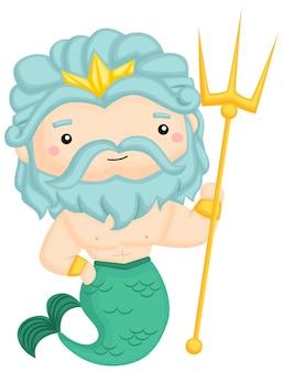 Een vector van poseidon, de god van de zee