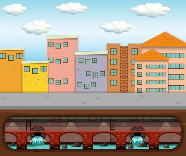 Een vector van rioolafval onder grote stad