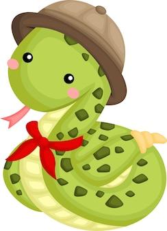 Een vector van schattige slang in een safari ranger kostuum