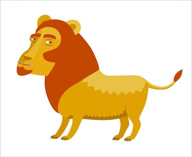 Een vectorillustratie van de leeuw met rode manen