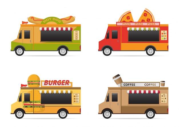 Een vectorillustratie van het pictogram vastgestelde ontwerpen van de voedselvrachtwagen.