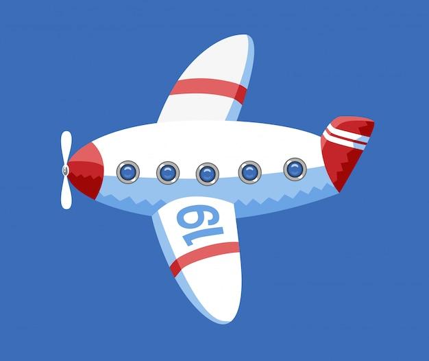 Een vectorillustratie van het stuk speelgoed vliegtuig in de blauwe hemel