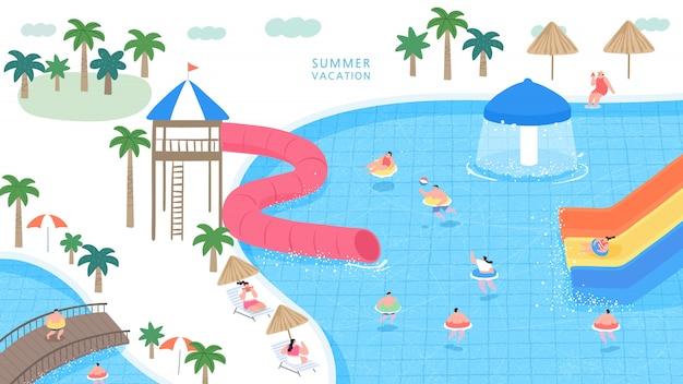 Een vectorillustratie van volkeren die in het waterpark spelen.