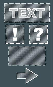 Een vectorillustratiereeks kaders en teken met tekst op grijze achtergrond