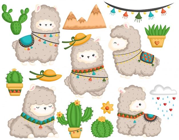 Een vectorreeks van leuke lama en vele cactus