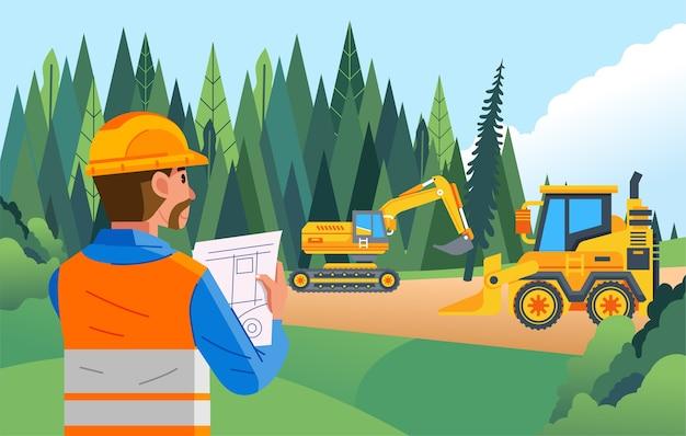 Een veldsupervisor houdt toezicht op een landontginningsproject met zwaar materieel voor ontwikkeling
