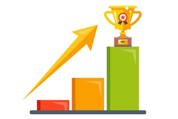 Een verkoopleider onder de concurrenten. een gouden beker krijgen. platte vectorillustratie.