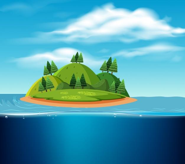 Een verlaten eiland scène