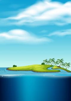 Een verlaten eilandzeegezicht