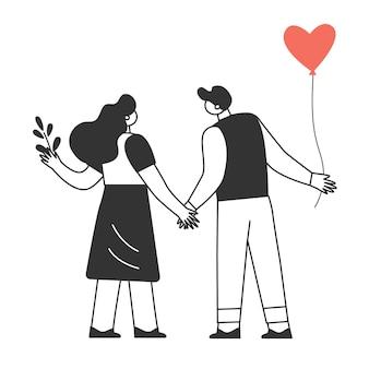 Een verliefd stel. de personages vieren valentijnsdag. liefde en romantiek concept.