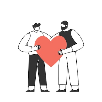 Een verliefd stel. twee mannen. de personages vieren valentijnsdag. liefde en romantiek concept.