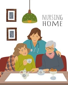 Een verpleegster en vrolijke oudere vrouw op een theekransje