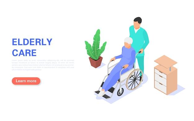 Een verpleegster helpt een oudere vrouw in een rolstoel. landingspagina voor ouderenzorg