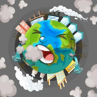 Een vervuild aardepictogram