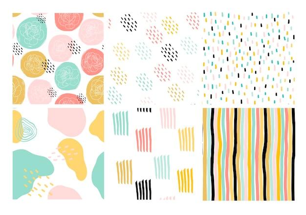 Een verzameling abstracte naadloze patronen in pastelkleuren