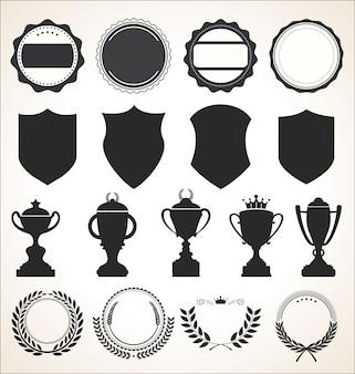 Een verzameling badge-etiketten en linten