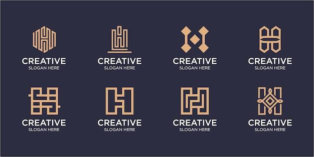 Een verzameling creatieve h-letterlogo-ontwerpen