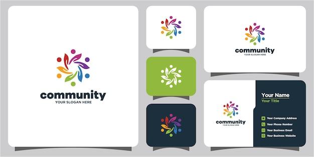 Een verzameling creatieve kleurrijke sociale groepslogo's en visitekaartjes