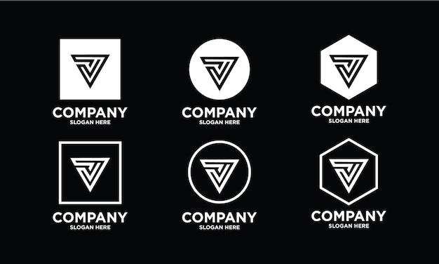 Een verzameling creatieve logo-ontwerpen met v-letters