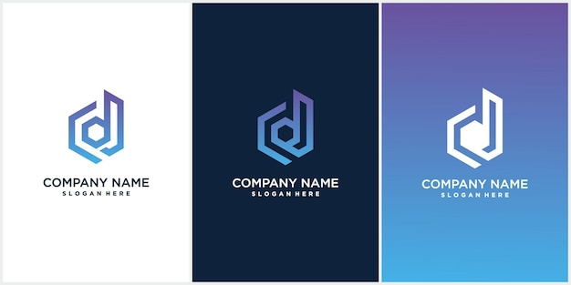 Een verzameling creatieve minimalistische d hexagon logo-pictogramontwerpen in vectorformaat met de letter d in luxueuze gradaties