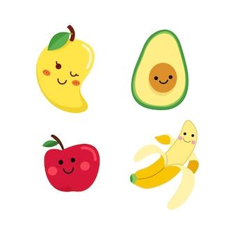 Een verzameling heel schattige fruitfiguren met prachtige kleuren